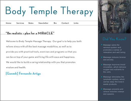 BODY TEMPLE MASSAGE THERAPY WEBSITE