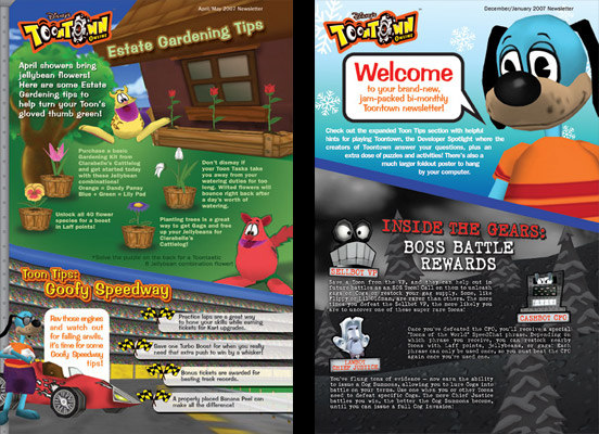 NEWSLETTERS FOR TOONTOWN